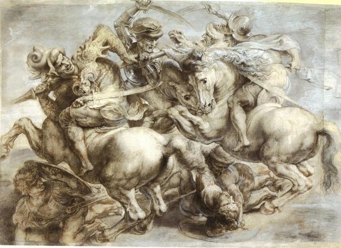 Peter Paul Rubens, Copia de la perdida Batalla de Anghiari realizada por Leonardo da Vinci en el Palazzo della Signoria de Florencia. París, Museo del Louvre.