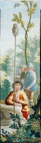Real Fábrica de Tapices de Santa Bárbara (por cartón de Goya), Jóvenes cazando con mochuelo. Fuente: © Patrimonio Nacional