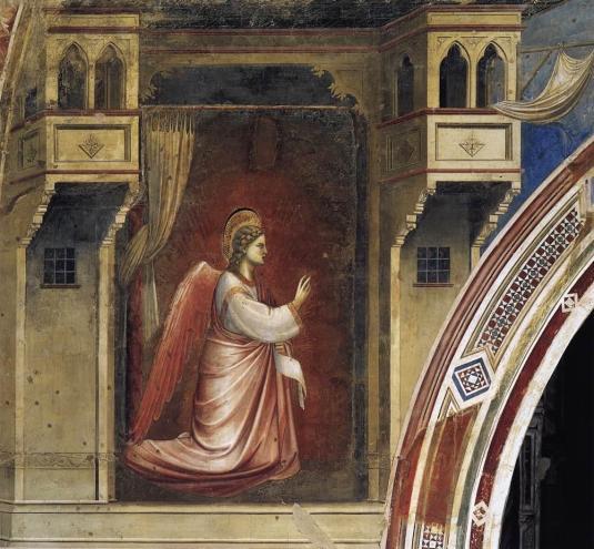 Giotto, El ángel Gabriel enviado por Dios, parte de la Anuncación. Pádua, Capilla Scrovegni. Foto: Wikimedia Commons.