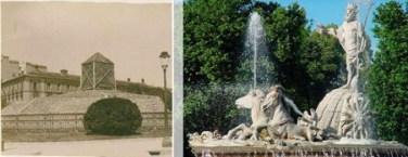 Fuente de Neptuno ya protegida. Archivo Vaamonde, Fototeca IPCE. / La fuente de Neptuno en la actualidad. Wikimedia Commons.