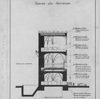 Torres de Serranos, Valencia. Sección – escala gráfica. Archivo Vaamonde, Fototeca IPCE.