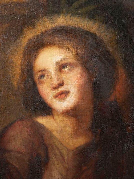 Rostro del Niño Jesús antes de la restauración. Foto: Kik-Irpa.