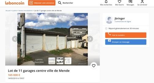 Un lot de 11 garages à vendre à Mende (Centre ville)
