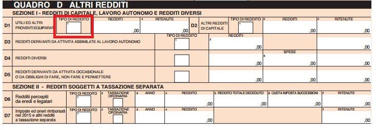 Quadro D Altri Redditi Modello 730 2016 Istruzioni Per