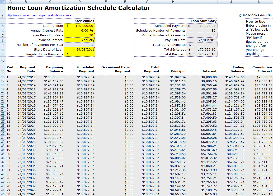 amortization schedule home loan