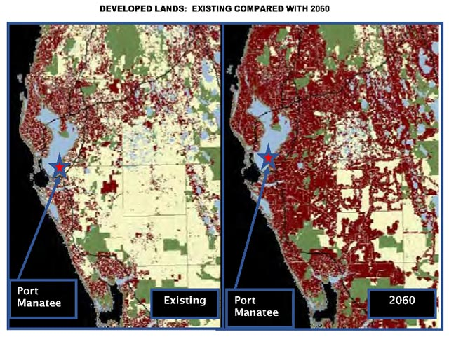 Developed lands - existing compared with 2060