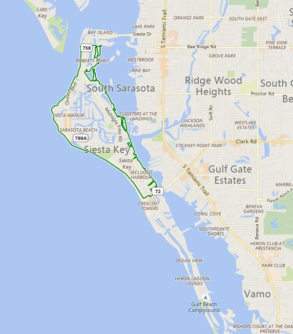 Siesta Key in Sarasota, Florida area map