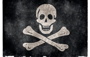 Jolly Roger Pirate Grunge Flag - Financial Piracy