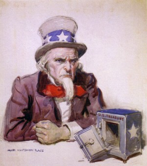 Uncle Sam with empty treasury, 1920, by James Montgomery Flagg. Reference to economic situation at end of World War I. For Tax Deferred Solutions