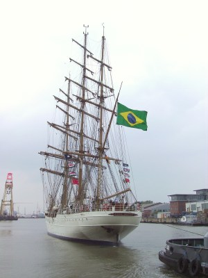Rear view of the tall ship of the Brazilian Navy Cisne Branco leaving the port of Bremerhaven in Germany - Tax Planning