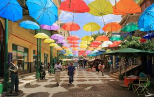 Colorful umbrellas at Caudan Waterfront Mall, Port Louis, Mauritius - Standard Bank