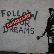Banksy in Boston: F̶O̶L̶L̶O̶W̶ ̶Y̶O̶U̶R̶ ̶D̶R̶E̶A̶M̶S̶ CANCELLED, Essex St, Chinatown, Boston - tax