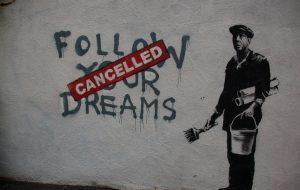 Banksy in Boston: F̶O̶L̶L̶O̶W̶ ̶Y̶O̶U̶R̶ ̶D̶R̶E̶A̶M̶S̶ CANCELLED, Essex St, Chinatown, Boston - tax