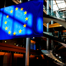 The European Union flag in the European Parliament in Strasbourg