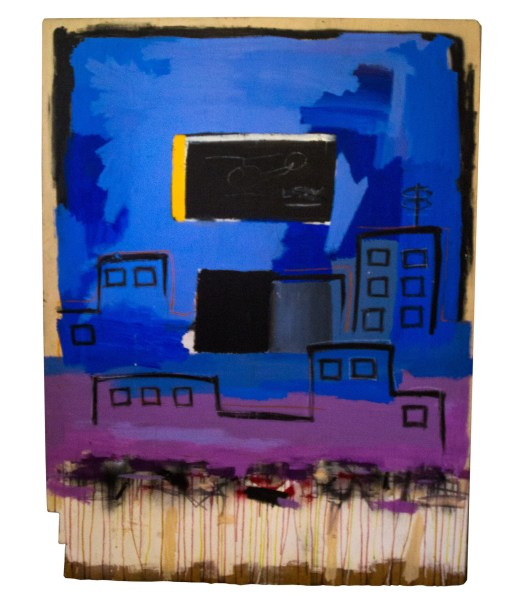 """""""Untitled,"""" an abstract and unfinished painting, by Jean-Michel Basquiat is up for auction on May 11. This piece was uncovered in a seized storage unit auction in 2012 and was recently inherited. It is accompanied with documentation and chain of custody paperwork leading back to its purchase from Basquiat. (PRNewsfoto/J. Levine Auction & Appraisal"""
