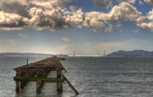 hdr berkeley marina and golden gate bridge