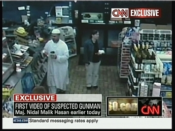 This store surveillance camera shot shows Muslim Army Maj. Nidal Malik Hasan, accused of the Fort Hood massacre in which 13 were killed and 31...