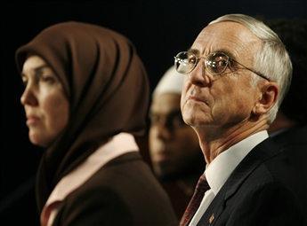 Gordon England, then deputy secretary of defense, is shown in 2006 at a convention that focused on issues facing American Muslims and their evolving...