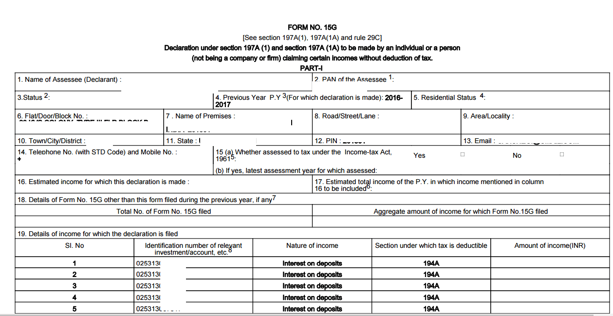Form 15G Form15H For Fixed Deposit Rent 2016 online – Financial Declaration Form