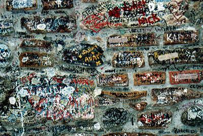ジュリエットの家の壁の落書き
