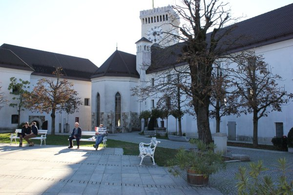 Cortile interno del castello di Lubiana (Slovenia)
