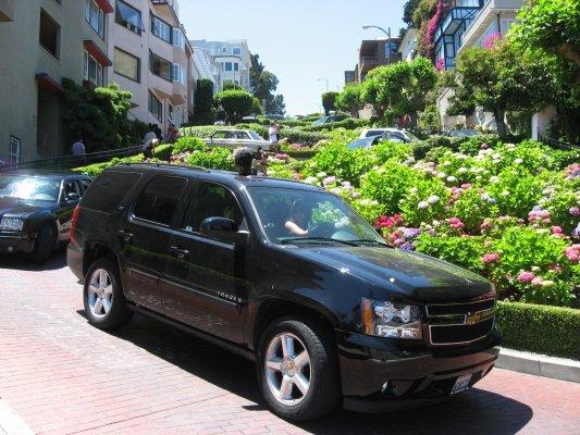 Auto che scendono da Lombard Street (San Francisco, Stati Uniti)