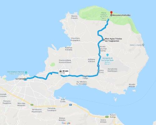 Mappa penisola Akrotíri Creta