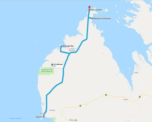 Mappa Dampier Peninsula Australia