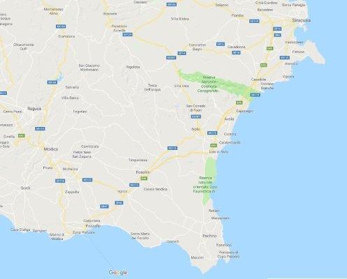 Mappa della Sicilia sud orientale