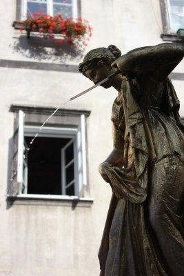 Monumento in piazza del pesce a Lubiana in Slovenia