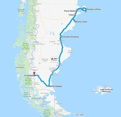 Mappa itinerario di viaggio in Patagonia del blog In Viaggio con Ricky