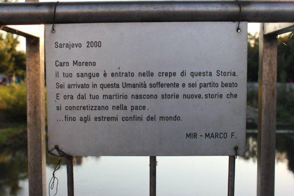 Targa in ricordo di Moreno Locatelli Sarajevo