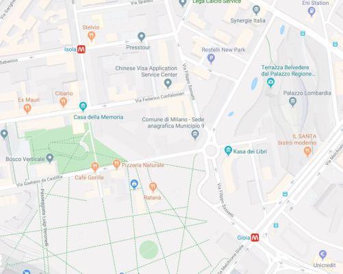 Mappa area Isola Milano