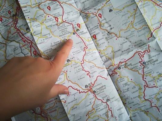 La mappa del Chianti in Toscana