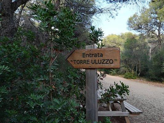 Indicazione entrata Torre Uluzzo nel Parco di Porto Selvaggio nel Salento
