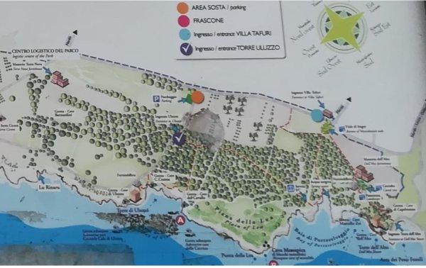 La mappa del Parco di Porto Selvaggio nel Salento
