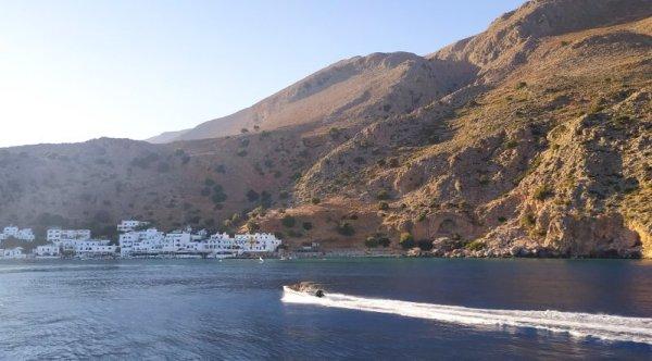 Panorama del villaggio di Loutro a Creta