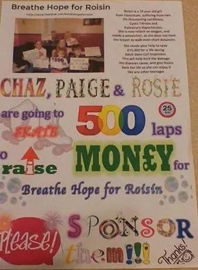 Sponsored Skate for Breathe Hope for Roisin
