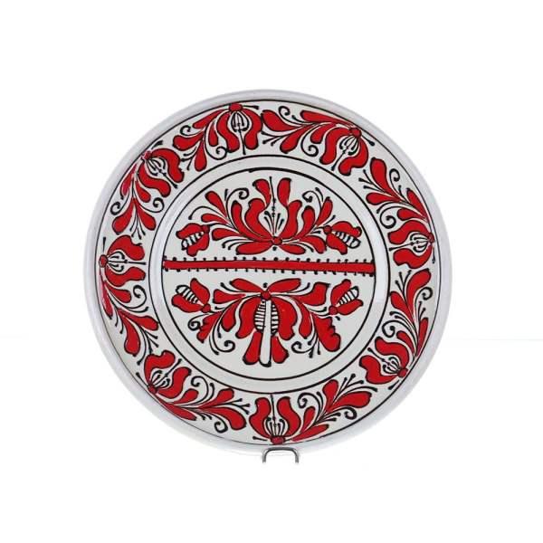 Farfurie traditionala ceramica rosie de Corund 24 cm