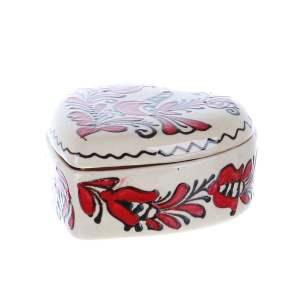 Bomboniera inimioara ceramica rosie de Corund