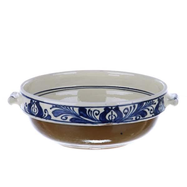 Castron cu manere ceramica traditionala albastra de Corund 20 cm