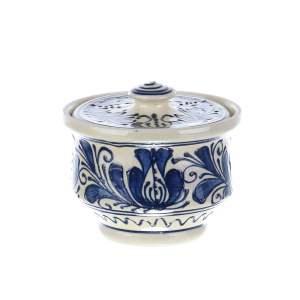 Recipient zahar ceramica albastra de Corund