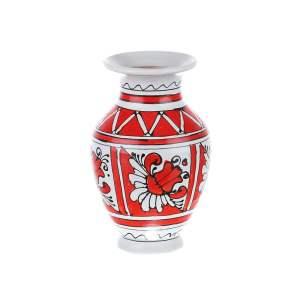 Vaza ceramica rosie de Corund nesmaltuita 14 cm
