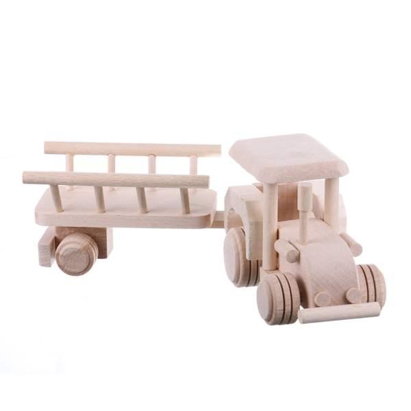 Jucarie din lemn tractor cu remorca pentru fan