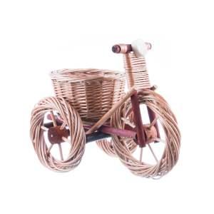 Decorațiune de gradină tricicletă mică din lemn
