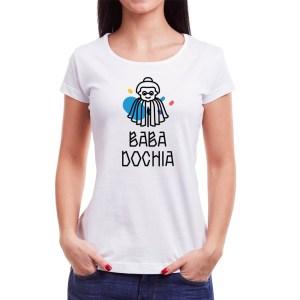 Tricou femei Baba Dochia Învie Tradiția alb/negru