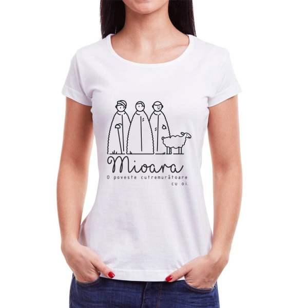 Tricou femei Mioara Învie Tradiția alb/negru