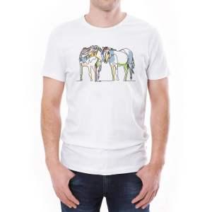 Tricou bărbați căluți Învie Tradiția alb/negru