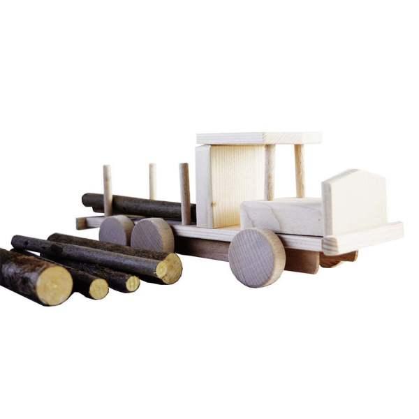 Masina de jucarie din lemn cu busteni