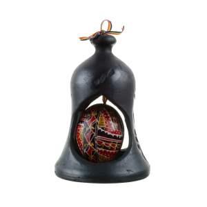 Clopot din ceramică neagră de Marginea cu ou încondeiat manual în Bucovina 13x9 cm